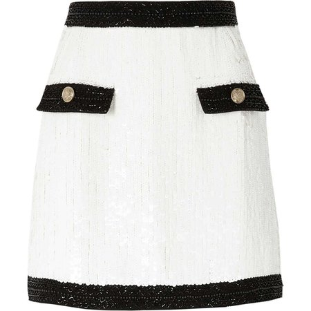 White contrast trim sequin mini skirt - Skirts - Sale - women