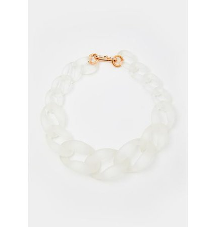 Thicc Chain Link Necklace - White   Dolls Kill