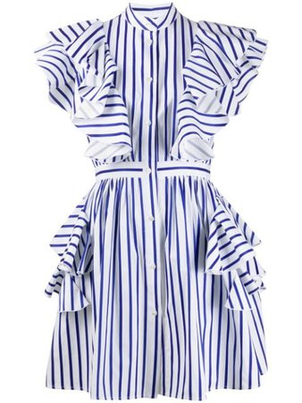 Msgm Striped Ruffle Detail Dress Ss20 | Farfetch.com
