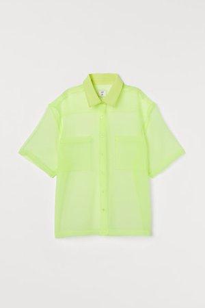 Camicia squadrata in organza - Giallo neon - DONNA | H&M IT