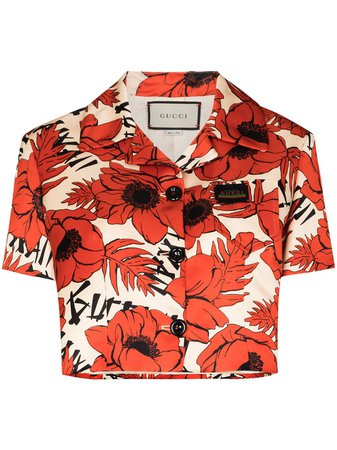 Gucci floral-print Cropped Bowling Shirt - Farfetch