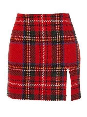 Red Plaid Slit Skirt