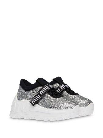 Miu Miu Glitter Chunky Sole Sneakers - Farfetch