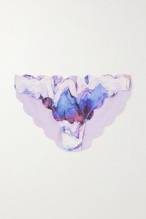 Antibes Reversible Scalloped Printed Stretch-crepe Bikini Briefs - Lilac