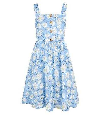 Blue Vanilla Pale Blue Floral Button Sundress | New Look