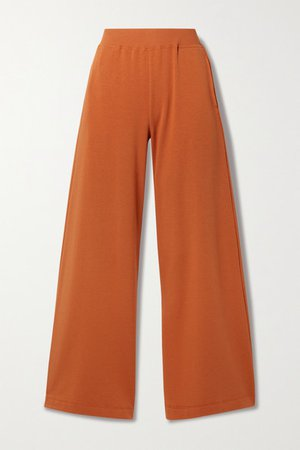 Campbell Stretch Cotton And Modal-blend Wide-leg Pants - Orange