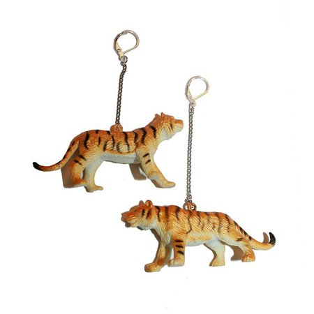 Plastic Tiger Toy Earrings vintage kitschy inspired toy | Etsy