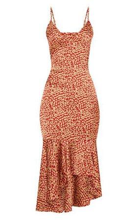 Red Leopard Print Frill Hem Midi Dress   PrettyLittleThing