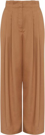 Aje Absolute Pleated Crepe Wide-Leg Pants