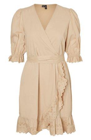 VERO MODA Tara Eyelet Wrap Minidress | Nordstrom