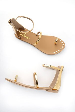 Gold Sandals - Flat Sandals - Ankle Strap Sandals - $20.00