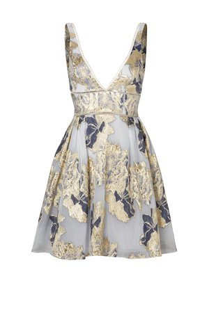 Metallic Floral Cocktail Dress by Marchesa Notte for $105 - $120 | Rent the Runway