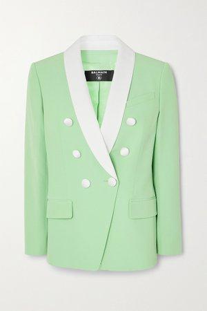 Mint Double-breasted two-tone crepe blazer   BALMAIN   NET-A-PORTER