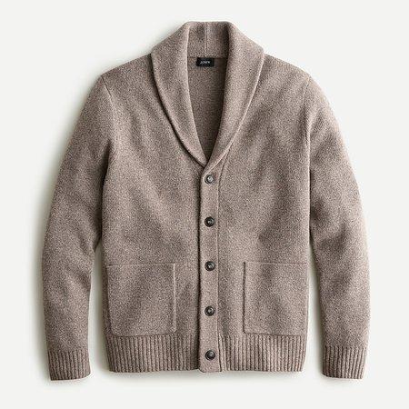J.Crew: Rugged Merino Wool Shawl Cardigan Sweater For Men