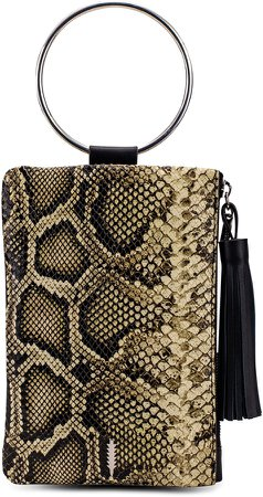 Nolita Ring Handle Snake Embossed Leather Clutch