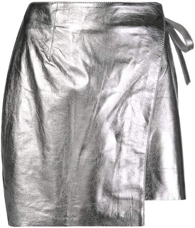 metallic-effect wrap-front skirt