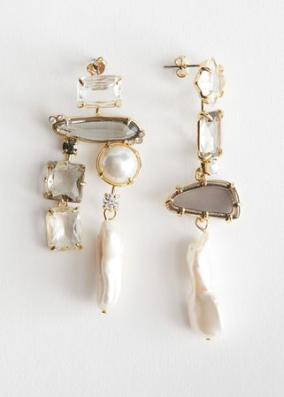 Rhinestone Pearl Hanging Earrings - Gold - Drop earrings - & Other Stories