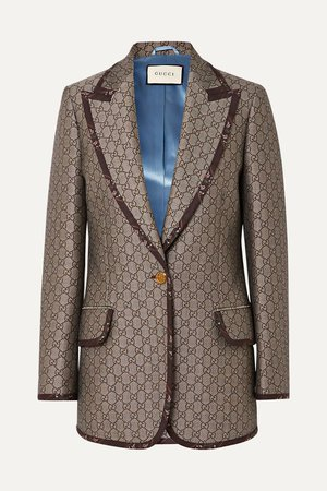 Brown Cotton and wool-blend jacquard blazer | Gucci | NET-A-PORTER