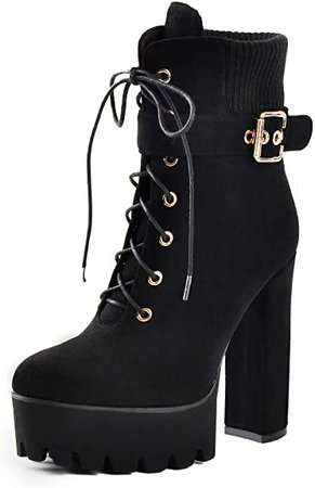 Amazon.com | LISHAN Women's Lace Up Chunky Heel Platform Ankel Boots | Ankle & Bootie
