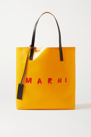 Mustard Leather-trimmed printed coated-PVC tote   Marni   NET-A-PORTER
