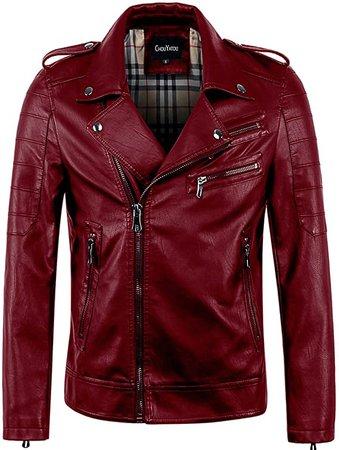 chouyatou Men's Vintage Asymmetric Zip Lightweight Faux Leather Biker Jacket at Amazon Men's Clothing store