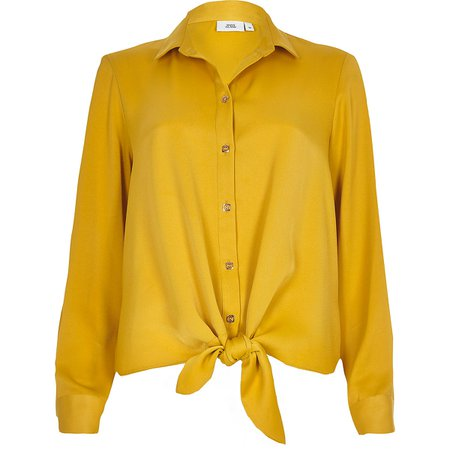 Yellow tie front long sleeve shirt - Shirts - Tops - women