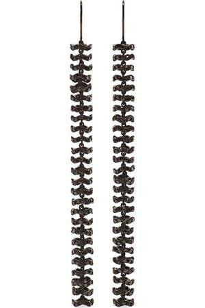 Ofira | Semi Duster 18-karat blackened white gold diamond earrings | NET-A-PORTER.COM