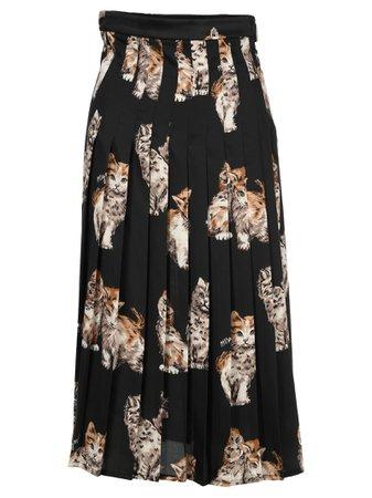 Msgm Kittens Print Pleated Skirt