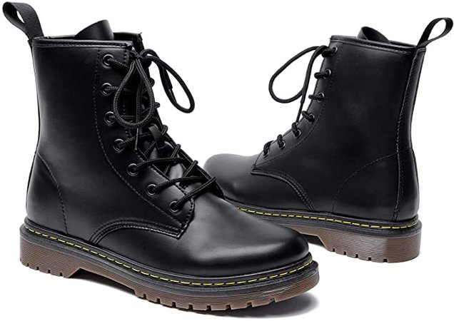 Amazon.com | Adokoo Womens Ankle Boots Booties Combat Boots (US9, Black) | Ankle & Bootie