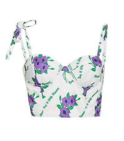 Rosie Assoulin Floral-Print Bustier Top