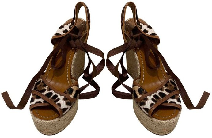Brown Pony-style calfskin Sandals