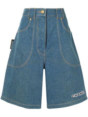Chanel Pre-Owned wide-legged Denim Shorts - Farfetch