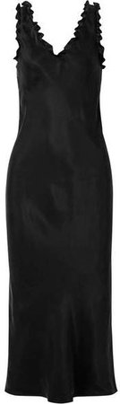 Ruffle-trimmed Washed-satin Midi Dress - Black