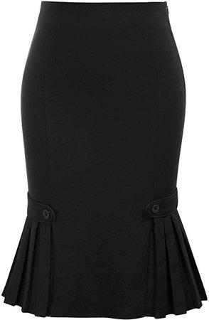Women Vintage Retro Black Skirt Knee Length Bodycon Pencil Skirt, Small at Amazon Women's Clothing store