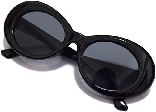 Amazon.com: JUSLINK Bold Retro Oval Mod Thick Frame Sunglasses Round Lens Clout Oval Goggles: Clothing