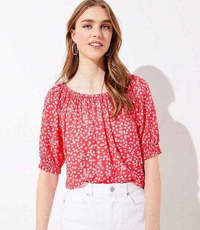 DAISY SMOCKED PEASANT TOP