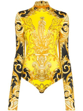 Versace Baroque Print Fitted Bodysuit A84687A232053 Yellow   Farfetch