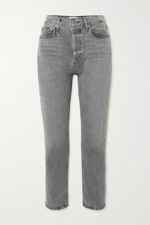 Gray Riley high-rise straight-leg jeans | AGOLDE | NET-A-PORTER