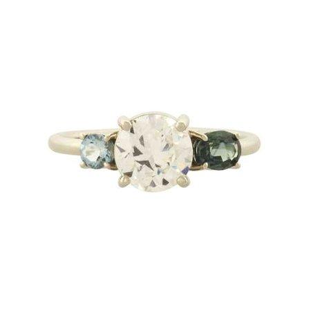 Old European Cut Diamond, Montana Sapphire, and Aquamarine Line Cluster Ring - Mociun