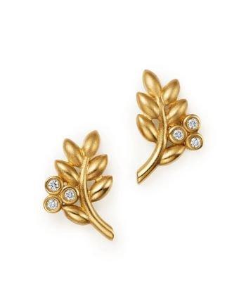 olive branch earrings gold