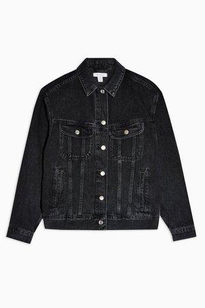 Oversized Washed Black Denim Jacket | Topshop