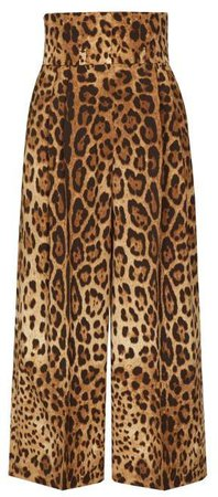 High Waisted Leopard Print Wool Blend Culottes - Womens - Leopard
