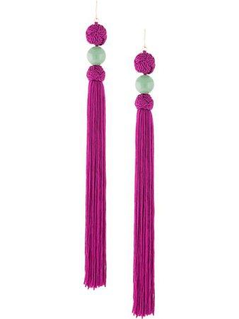 Shanghai Tang Long Tassel Earring A5WJE128PU Purple   Farfetch