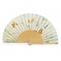 Luxury pink folding paper hand fan inspired by Palace rose gardens
