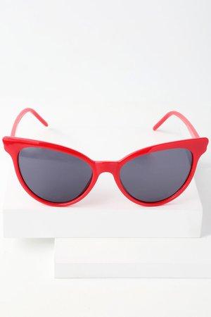Cute Red Cat-Eye Sunglasses - Red Sunnies - Cat-Eye Sunnies