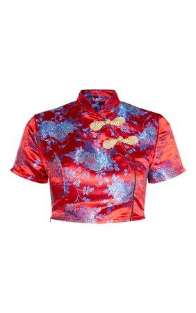 Red Oriental Satin High Neck Short Sleeve Crop Top | PrettyLittleThing