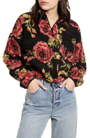 BDG Urban Outfitters Rose Fleece Quarter Zip Crop Pullover | Nordstrom