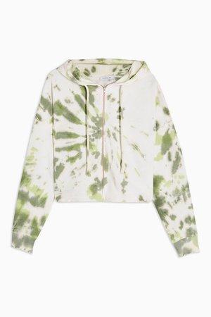 Green Tie Dye Lettuce Hoodie | Topshop