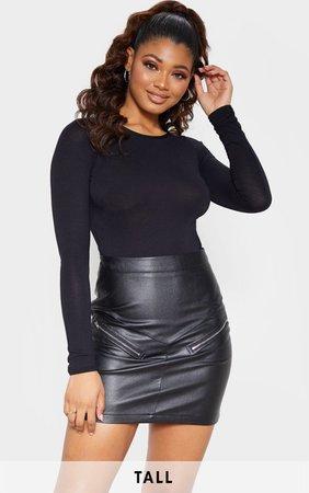 Tall Black Slinky Long Sleeve Bodysuit   PrettyLittleThing USA