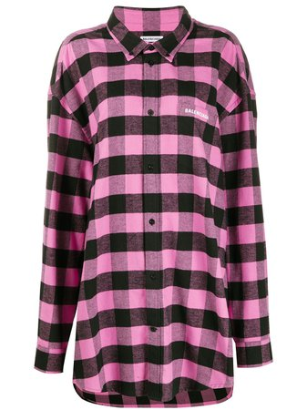 Pink & black Balenciaga check-print oversized shirt - Farfetch